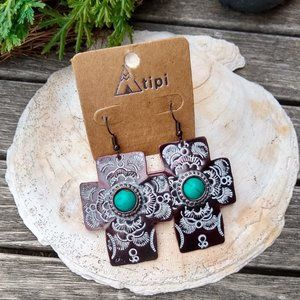 Tipi Aztec Cross Faux Turquoise Patina Earrings